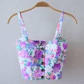 tank top,flowers,little mix,blouse,floral,shirt,pink,clothes,bustier,crop tops,white,purple,pretty,floral tank top,ariana grande,beautiful,t-shirt,bralette,summer,buttons,flowery shirt,bottoms in the middle,top,floral blouse,straps,tumblr shirt,tumblr outfit,tumblr top,tumblr clothes,tumblr girl,foral,foral crop top,corset top,corset,floral top,blue,neon