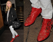 low boots,buckles,kate bosworth,red shoes,shoes