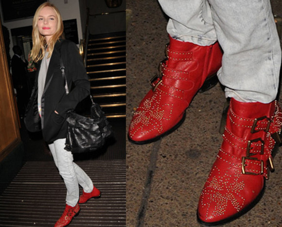 kate bosworth low boots buckles red shoes
