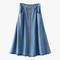 Blue denim button down midi skirt