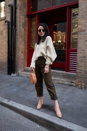 the fancy pants report,blogger,pants,sweater,shoes,bag,sunglasses,round bag,fall outfits,khaki pants