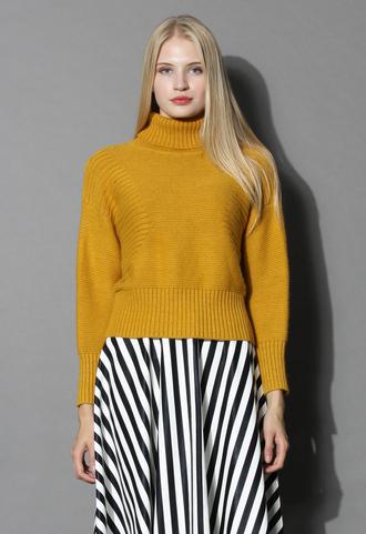 sweater retro turtleneck sweater in mustard chicwish retro mustaed mustard sweater