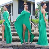 dress,green maxi dress,green dress,slit,asymmetrical dress,one shoulder dresses,bag