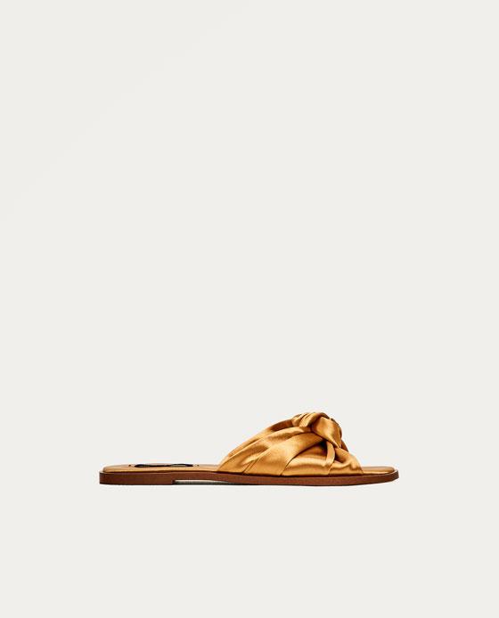 Slides Shoes Sandals Woman Macedonia SaleZara Bow Flat Satin 8wOv0Nymn