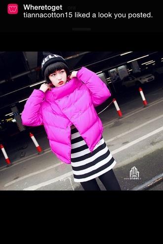 jacket white dress coat hat beanie pink pink dress fashion fucsia dress asian fashion streetwear streetstyle style black white down jacket