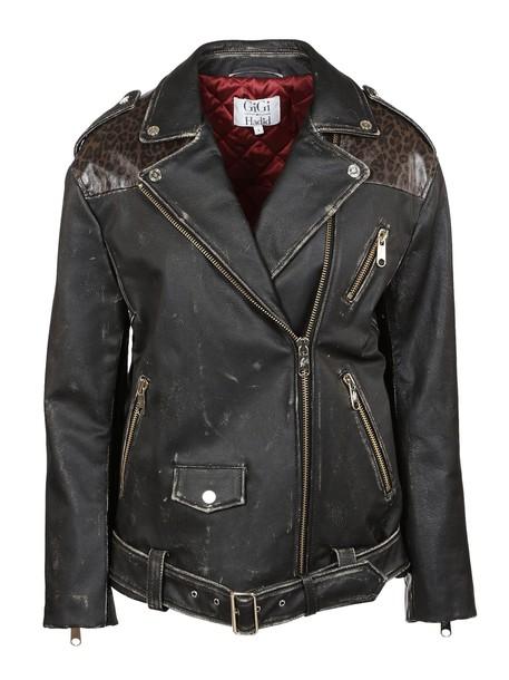 Tommy X GiGi HADID jacket biker jacket print leopard print black