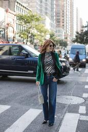themiddlepage,blogger,jacket,top,jeans,bag,shoes,belt,blazer,gucci belt,green jacket