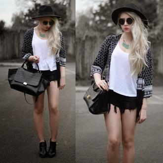 sammi jackson blogger hat sunglasses jewels jacket shorts bag shoes