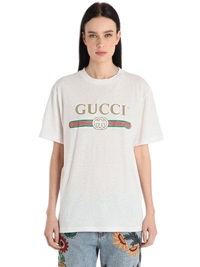 Gucci Logo Amp Embroidery Cotton Jersey T Shirt Luisaviaroma