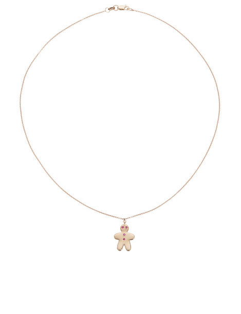 Rose Gold Gingerbread Man Necklace