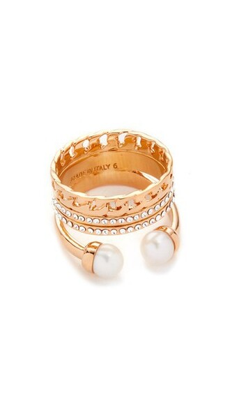 rose gold rose clear pearl triple ring gold jewels
