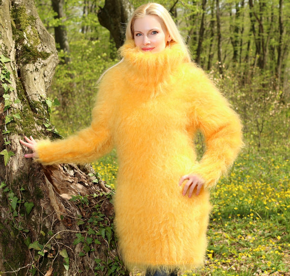 Beautiful thick and fuzzy hand knitted yellow mohair by supertanya