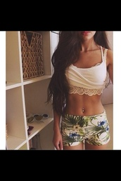 blouse,short,tank top,top,green,palm leaf,flowers,island,beach,lace crop top,flower print shorts,shorts,shoes,flowered shorts,leggings,high waisted leggings,printed leggings,tropical pattern,belly button ring,bralette,white bralette,lace bralette,tumblr outfit,tumblr girl,stylish,style,trendy,fashion inspo,rad,chill,casual,on point clothing,outfit idea,fashion,clothes,d?bardeur,blanc,white,dentelle,tropical,cute,blue,floral,palm leafs,cute shorts,tropical print shorts,summer,shirt,hazzle,palm tree print