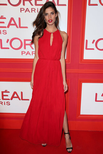 dress sara sampaio fashion week 2016 paris fashion week 2016 red dress red gown prom dress slit dress sandals