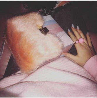 bag furry pouch fur pink purse fashion style
