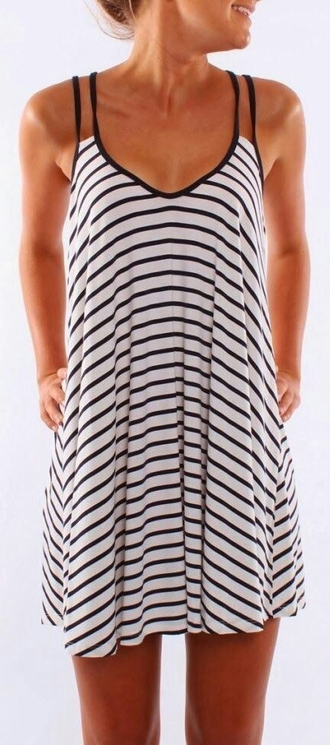 dress black and white black dress striped dress summer outfits summer dress casual dress casual dresses