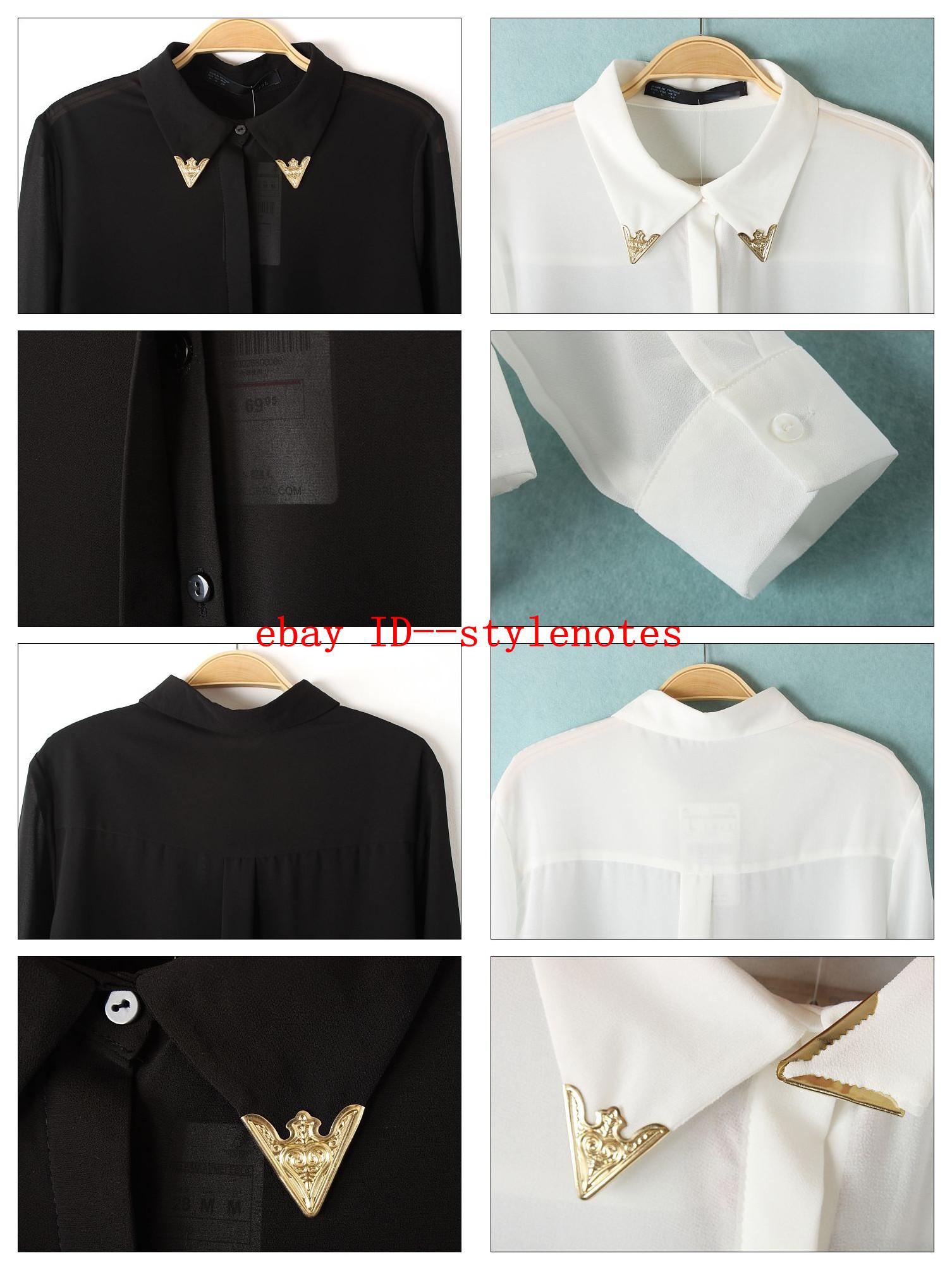 Semi Sheer Lightweight Metal Tips Classic Point Collar Long Sleeved Blouse Shirt   eBay