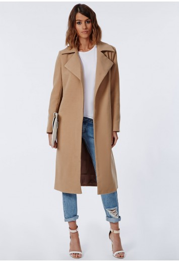 Missguided - Khloe Premium Waterfall Coat Camel