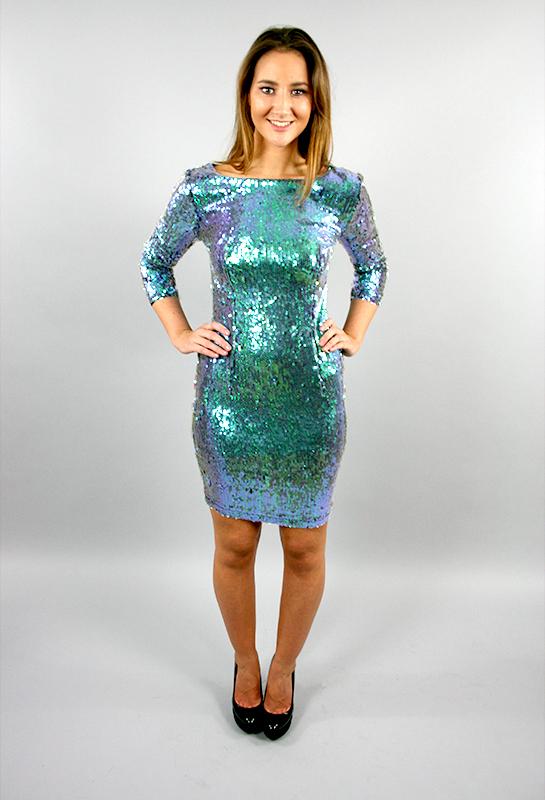 Green Iridescent Sequin Azalea Mermaid Dress