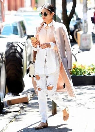 blouse vanessa hudgens shirt ripped jeans white jeans