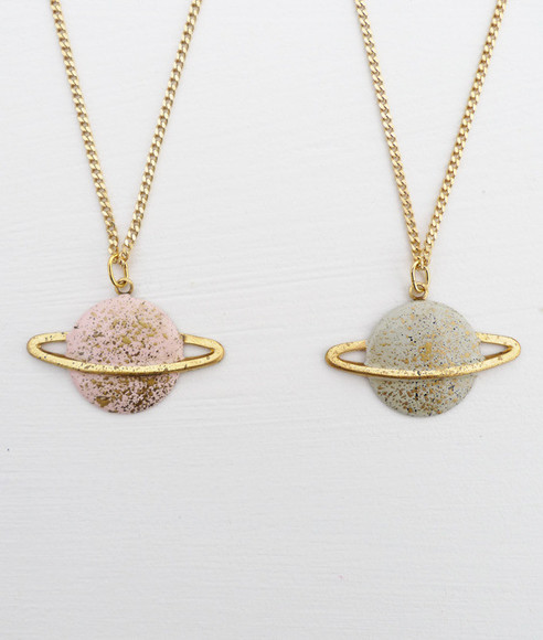 galaxy blue pink pastel universe stars jewels indie gold necklace cute planet earth world saturn shine nerd glitter paint girls girl sparkling venus atmosphere