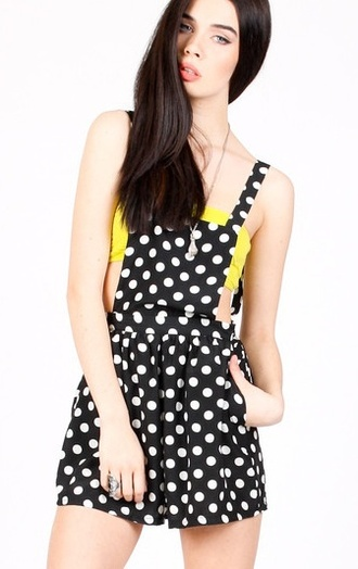 blouse polka dot overall shorts yellow black