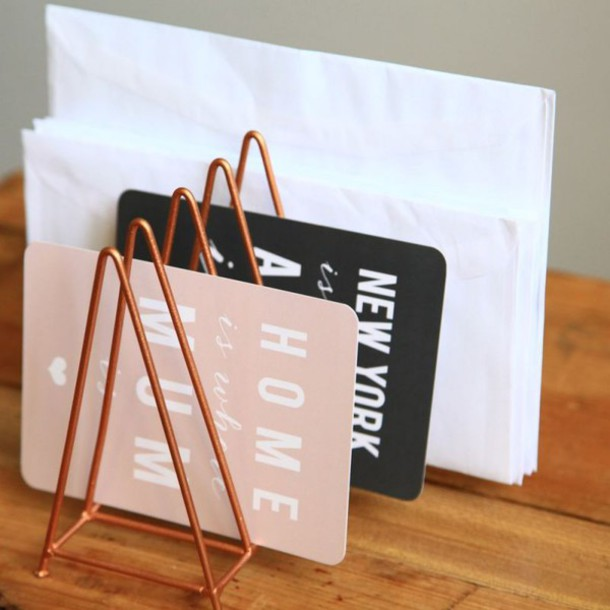 home accessory desk metallic home decor card organizer stationary copper