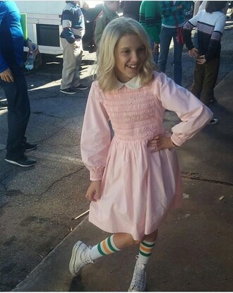 dress pink 80s style eleven el socks stranger things pink dress kids dress millie