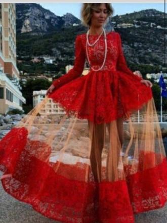 dress red lace boho beautiful long dress amazing stylish fall summer love