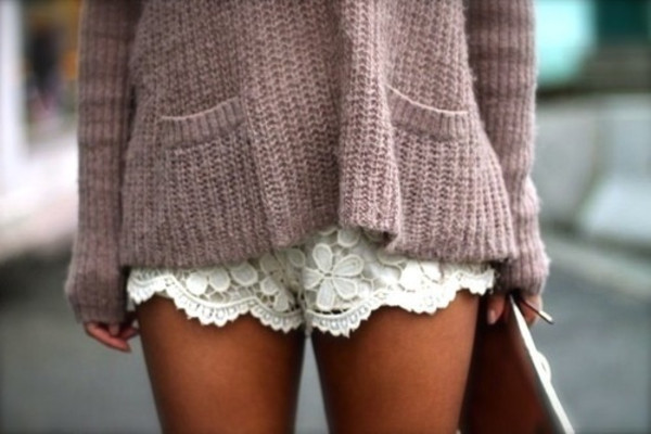 shorts white lace shorts floral fashion oversized sweater clothes sweater