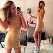 dress,gold,glitter,bandage,one shoulder,short,cocktail dress