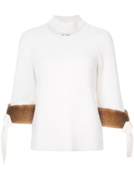 Fendi sweater fur women white cotton