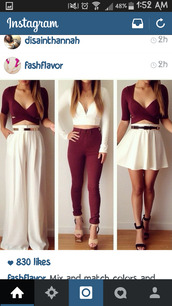 shoes,nude high heels,top,skirt,shirt crop top blouse,maroon:cranberry,white skirt,jumpsuit,white jumpsuit,croptopwithskirt,crop tops,jeans,ripped jeans,skateboard,skater,vans,shirt,blouse,burgundy top,plunge v neck,three-quarter sleeves,beige shoes,nude heels,platform shoes,strappy heels,high heels,pants,white,skater skirt,dress,pink prom dress,prom dress,backless prom dress,pink lace dress,lace dress