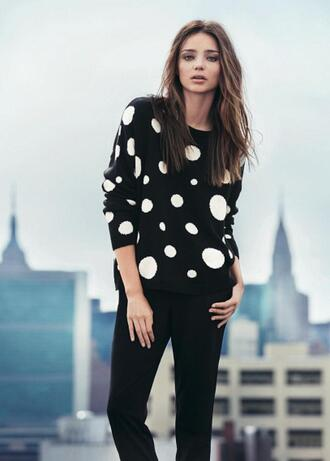 mango black and white polka dots sweater