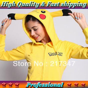 Kigurumi adult pokemon costumes pikachu ear hoodies sport suit hoody sweatshirts tracksuits sweaters 2014 women fashion