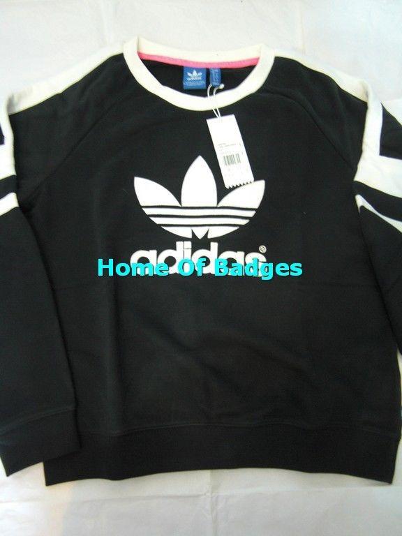 Adidas originals 2014 q3 women logo crew sweater shirt m69756 black white