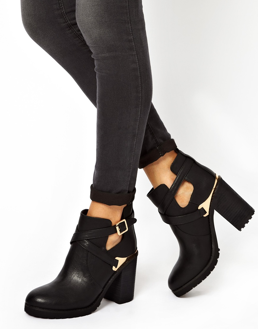 Miss kg bonjour cut out heeled boots at asos.com