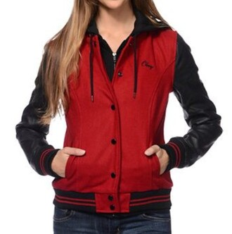 jacket long sleeves red hoodie hoody sweater black spring winter outfits fall outfits bomber jacket