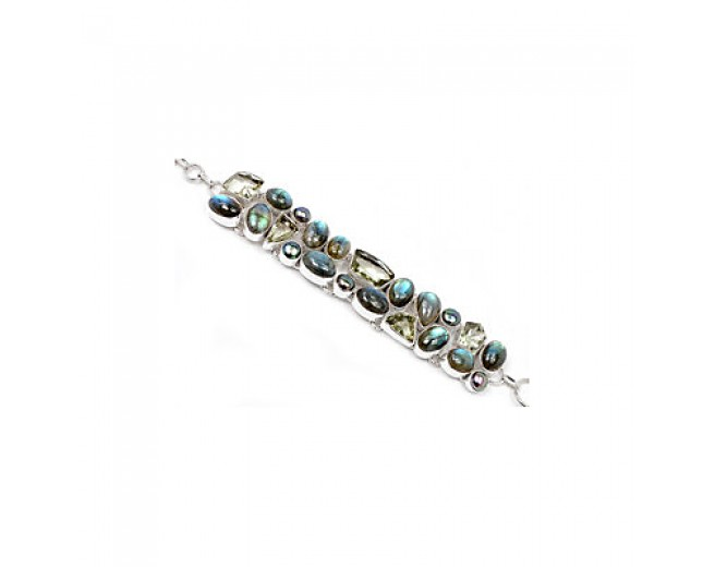 Awesome 925 sterling silver Labradorite Green Amethyst And Pearl Gemstone Cluster Bracelet