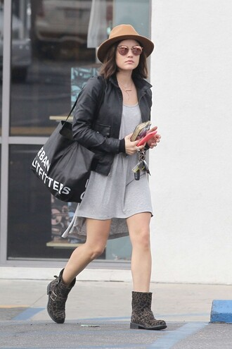 shoes boots lucy hale streetstyle jacket dress printed boots flat boots black leather jacket leather jacket black jacket grey dress mini dress casual dress bag tote bag black bag felt hat sunglasses mirrored sunglasses