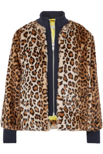 Ganni jacket faux fur jacket fur jacket fur faux fur print leopard print
