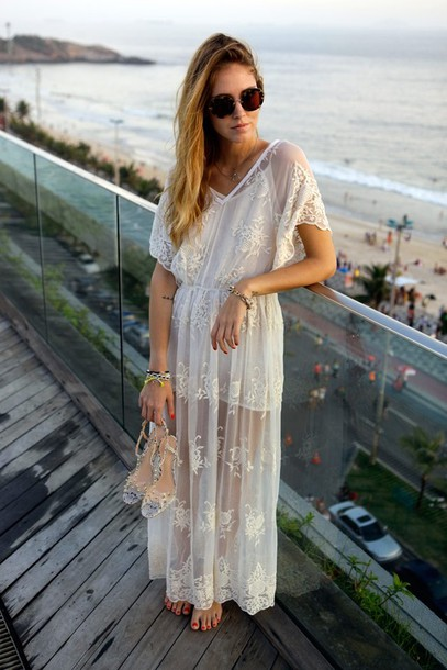 Dress Lace Summer Pretty Maxi Nice Chill Classy Hipster Wedding White Cream Beige Boho