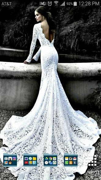 dress white dress wedding dress lace dress bodycon dress long train long dress open back dresses