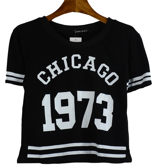 Chicago 1973 print cotton t shirts harajuku women's 2014ss short design high waist fashion navy style tee tops 4 colors in stock