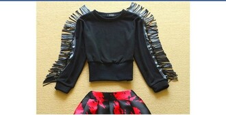 shirt black top crop leather skirt red fringed top fringes crop tops cropped sweater black leather jacket