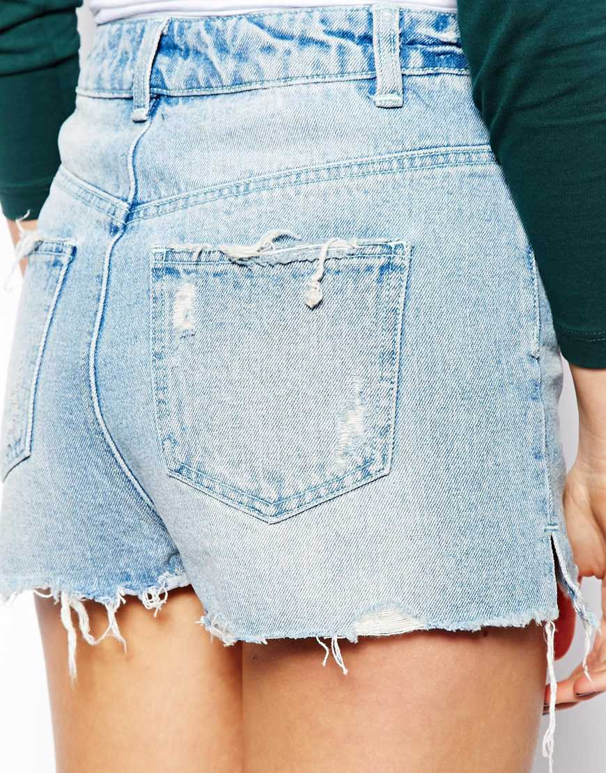ASOS High Waisted Denim Shorts with Side Split and Rips in Light Wash at asos.com