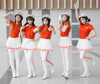 pants kpop crayon pop crayon red white crazy bar bar bar aegyo cute sweet lovely sportswear dance outfit cosplay kawaii korean music kmusic kartist ellin geummi soyul choa way mad girl women baby helmet