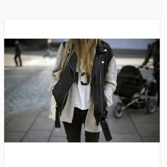 white shirt jacket leather jacket grey cardigan jeans jewels love it
