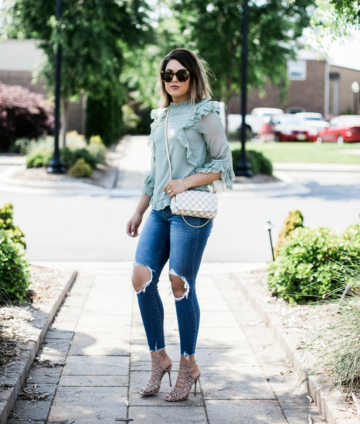 life & messy hair blogger blouse shoes jeans sunglasses jewels ruffle ripped jeans skinny jeans sandals high heel sandals