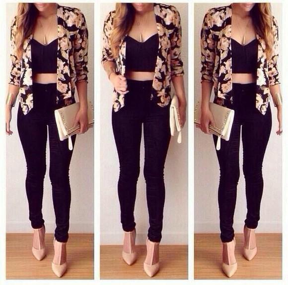 roses cardigan blazer black jewels